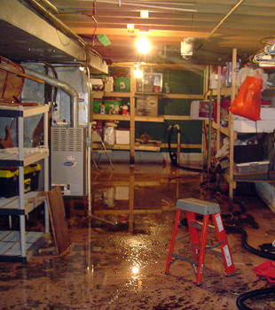 a flooded home in Gardendale
