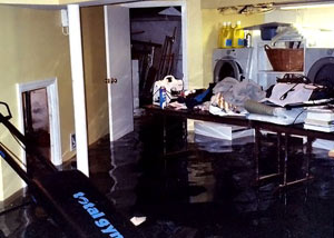 A laundry room flood in Leeds, with several feet of water flooded in.